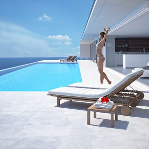 Young woman enjoying the sun at the endless pool. 3d rendering